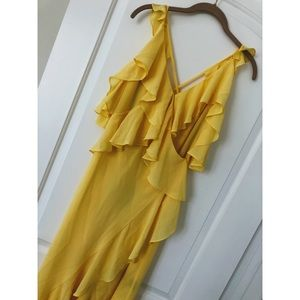Michael Costello Dresses - Michael Costello Yellow Gown with Ruffles